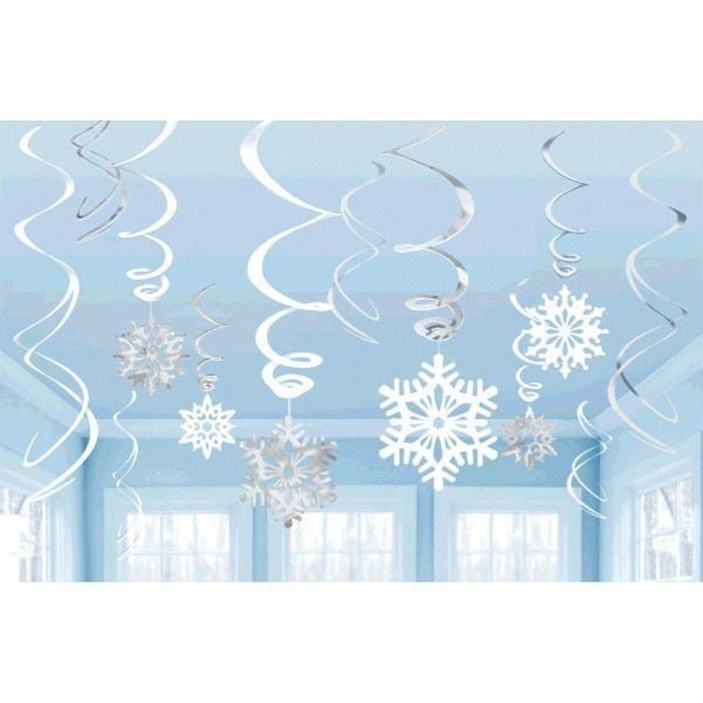 Snowflakes Value Pack 12 Hanging Foil Swirls Decorations Blue White