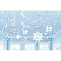 Snowflakes Value Pack 12 Hanging Foil Swirls Decorations Blue White - $7.59