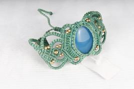 Macrame Bracelet Amazonite stone Hippie Handmade Bohemian Waxed Cord wat... - $16.00