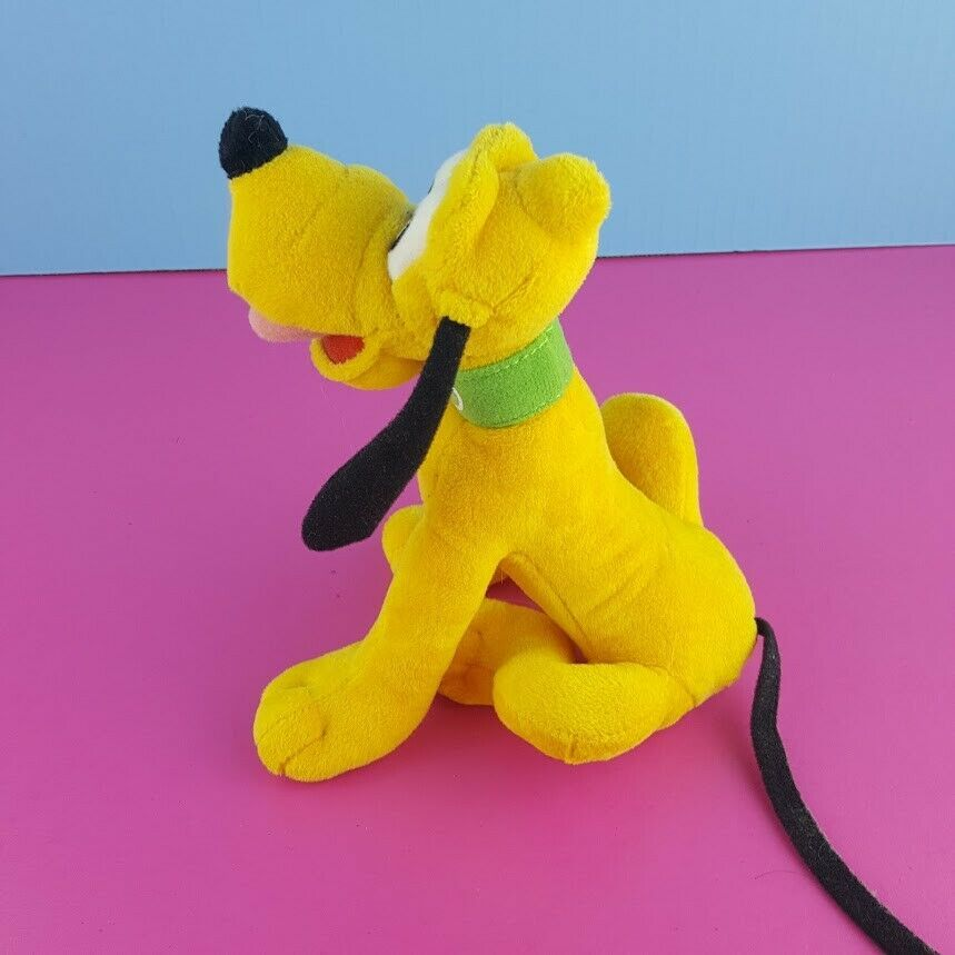 "Disney Plush Pluto Stuffed Animal 8"" Sitting Dog Mickey Mouse"