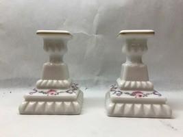 Vintage Westmoreland Quilt Pattern Milk Glass Candlesticks - $39.59