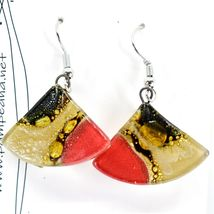 Handmade Recycled Fused Glass Red & Brown Triangle Hook Earrings Made Ecuador image 3