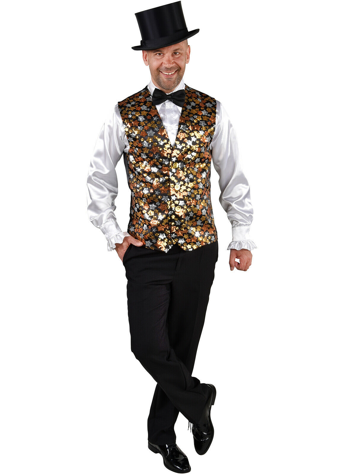 "Deluxe ""Star"" Waistcoat - Cabaret / Showman / DJ/ Entertainer , Gold/Silver"