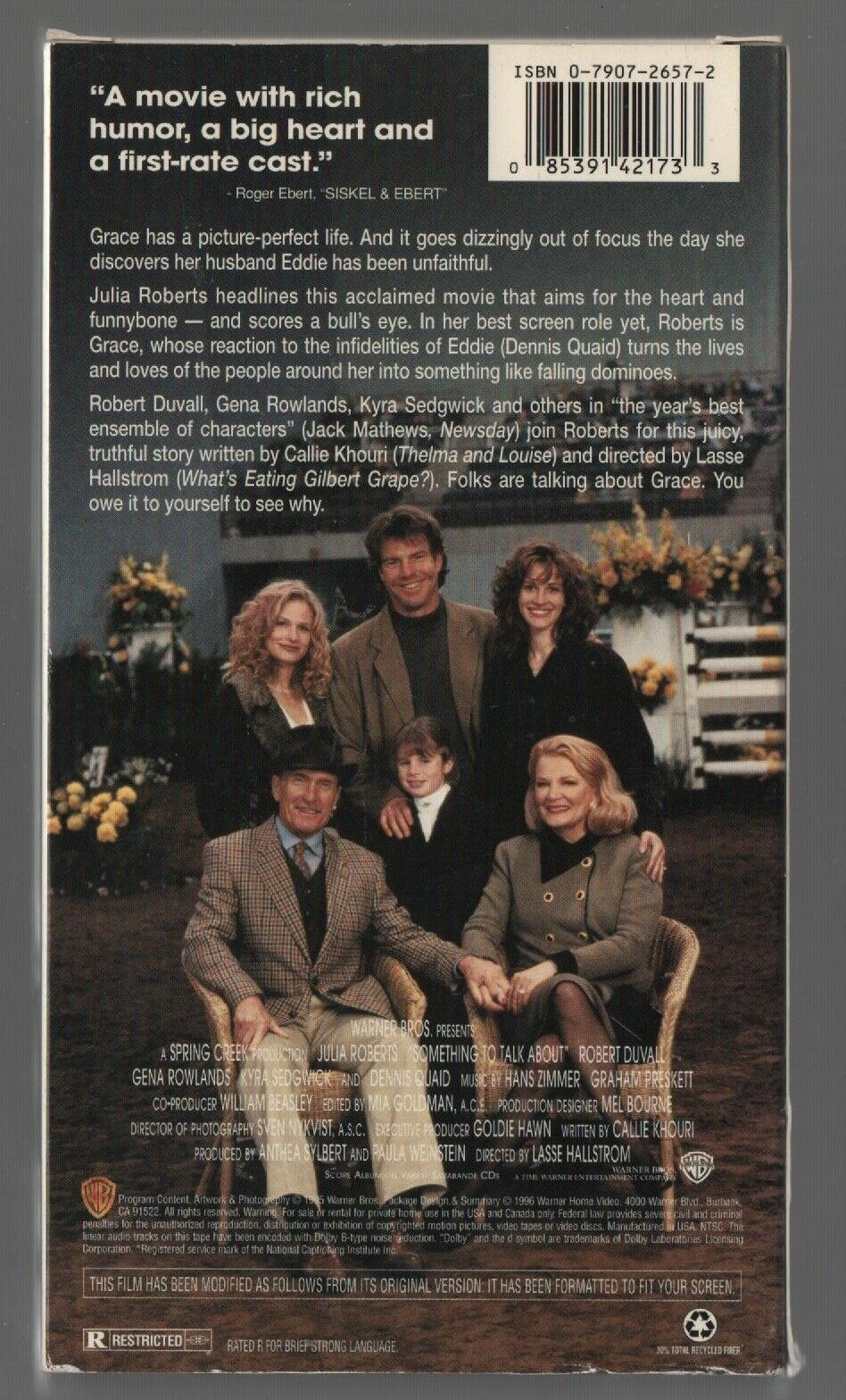 Something to Talk About - Julia Roberts, Robert Duvail - Warner Bros - VHS 14217 image 2