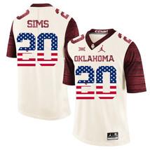 Men's Oklahoma Sooners Billy Sims 20 NCAA USA Flag Jersey, Cream - $52.24