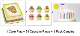 Luau Beach Hawaii Polynesian Cake Cupcake Topper Pics Rings Party 24 Pie... - $16.78