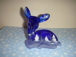 Fenton Hand Painted Blue Forest Deer - $54.99