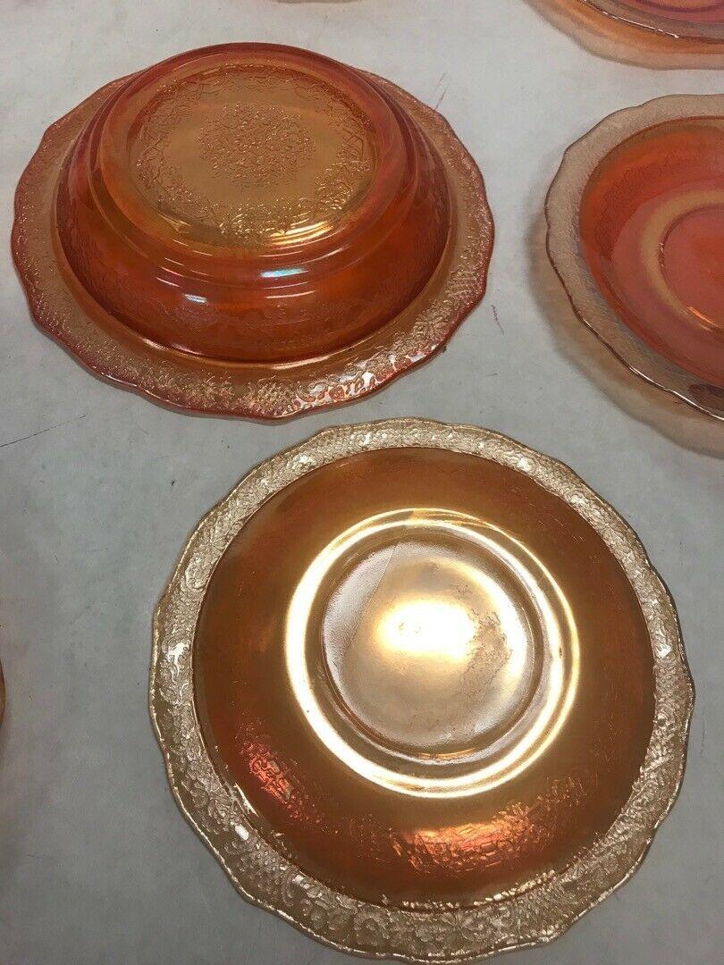 Lot 8 Carnival glass pink saucers bowl iridescent marigold orange scalloped