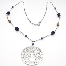 SILVER 925 NECKLACE, LAPIS LAZULI, PENDANT LOCKET TREE OF LIFE - $117.48