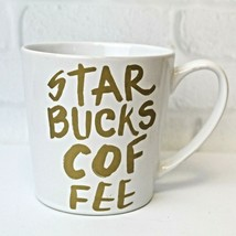 Starbucks Large Coffee Mug Cup 14.2 OZ Gold Spell Out Collectible 2015 - $10.99