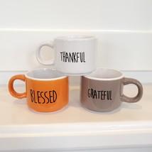 Espresso Mug Set of 3, ceramic cups, Thankful Grateful Blessed, orange gray image 1