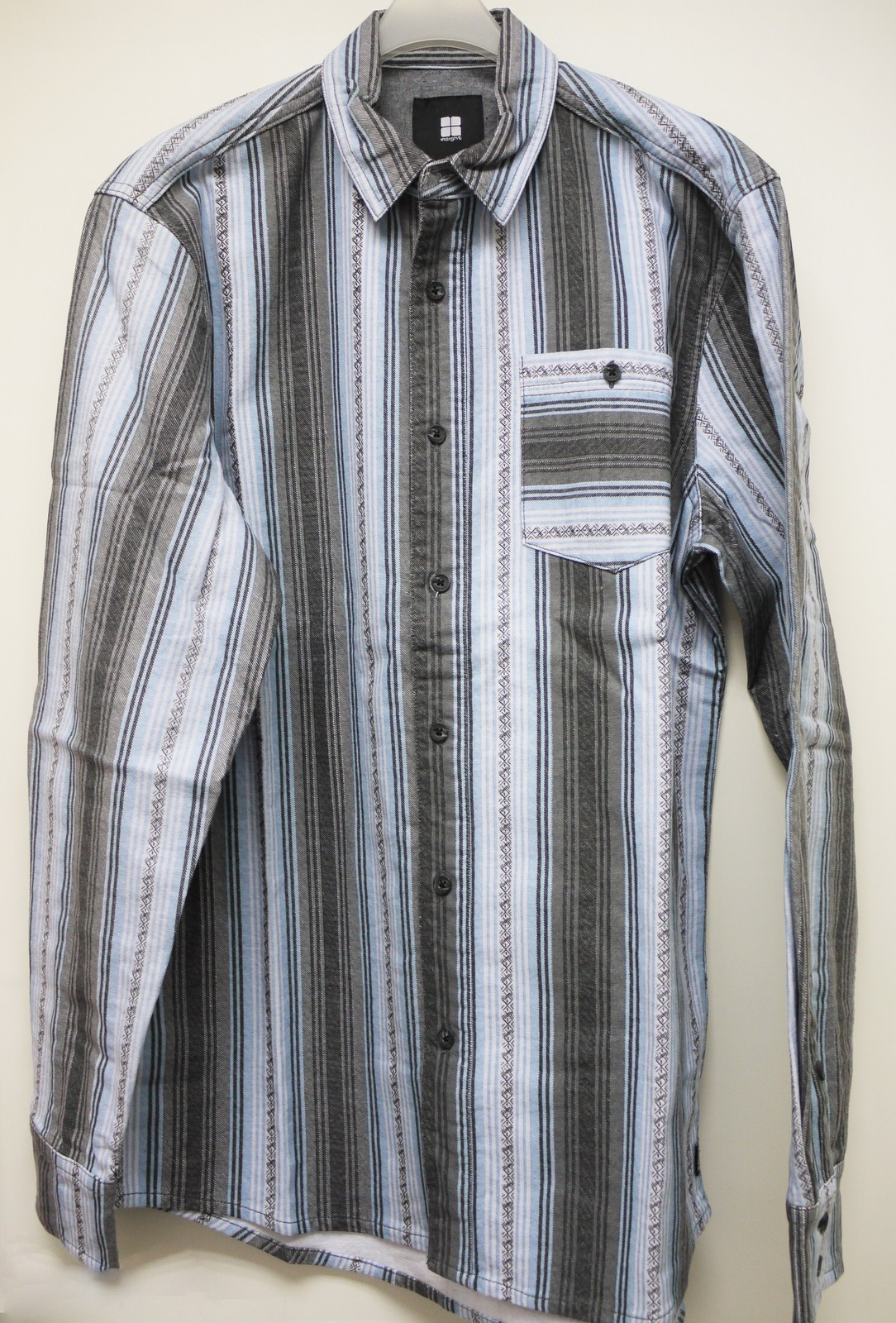 I5SSBEMM47 insight Outfit Blue Serape Strip Long Shirt Medium Size for Men