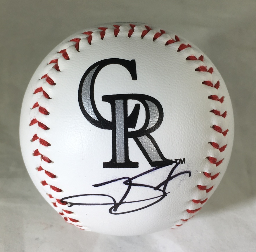 TREVOR STORY / AUTOGRAPHED COLORADO ROCKIES LOGO OML BASEBALL / WITH COA