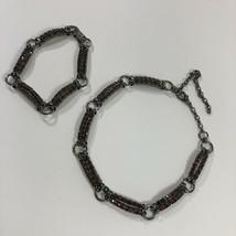 "Vintage Rhinestone 13 1/2"" Choker Necklace And Bracelet Set - $18.00"
