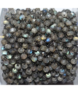 Natural Labradorite 3-4 MM Rosary Beaded Black Plated Chain For Jewelry - $15.32+
