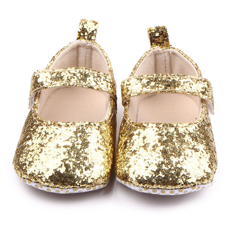 6850317130cd 57. 57. NEW Baby Girls Gold Glitter Sequin Mary Jane Crib Shoes 0-6 6-12