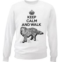 Great pyraneese dog - keep calm and walk b - NEW WHITE COTTON SWEATSHIRT - $30.65