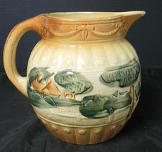 Early Antique Roseville Stoneware Early Decorated Pitcher or Jug * Lands... - $94.99