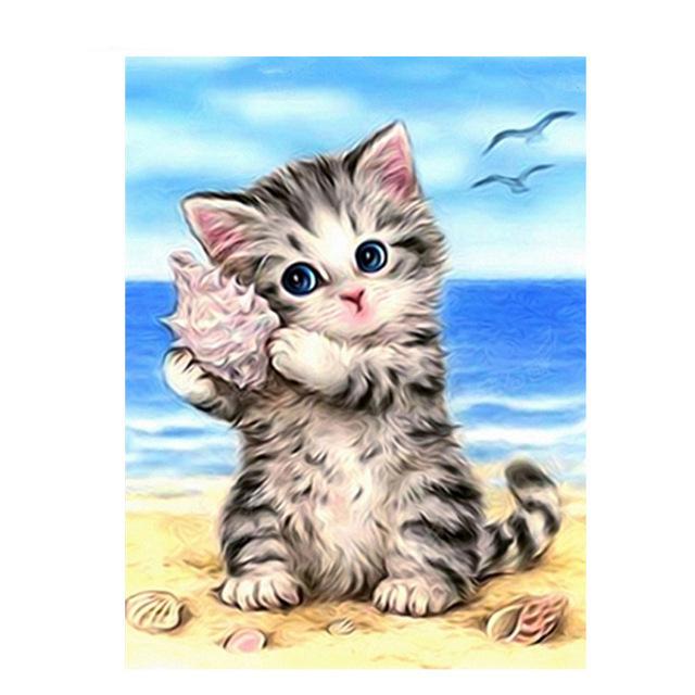 5D DIY Animal Diamond Painting Cat Cross Stitch Kits Diamond Embroidery Full