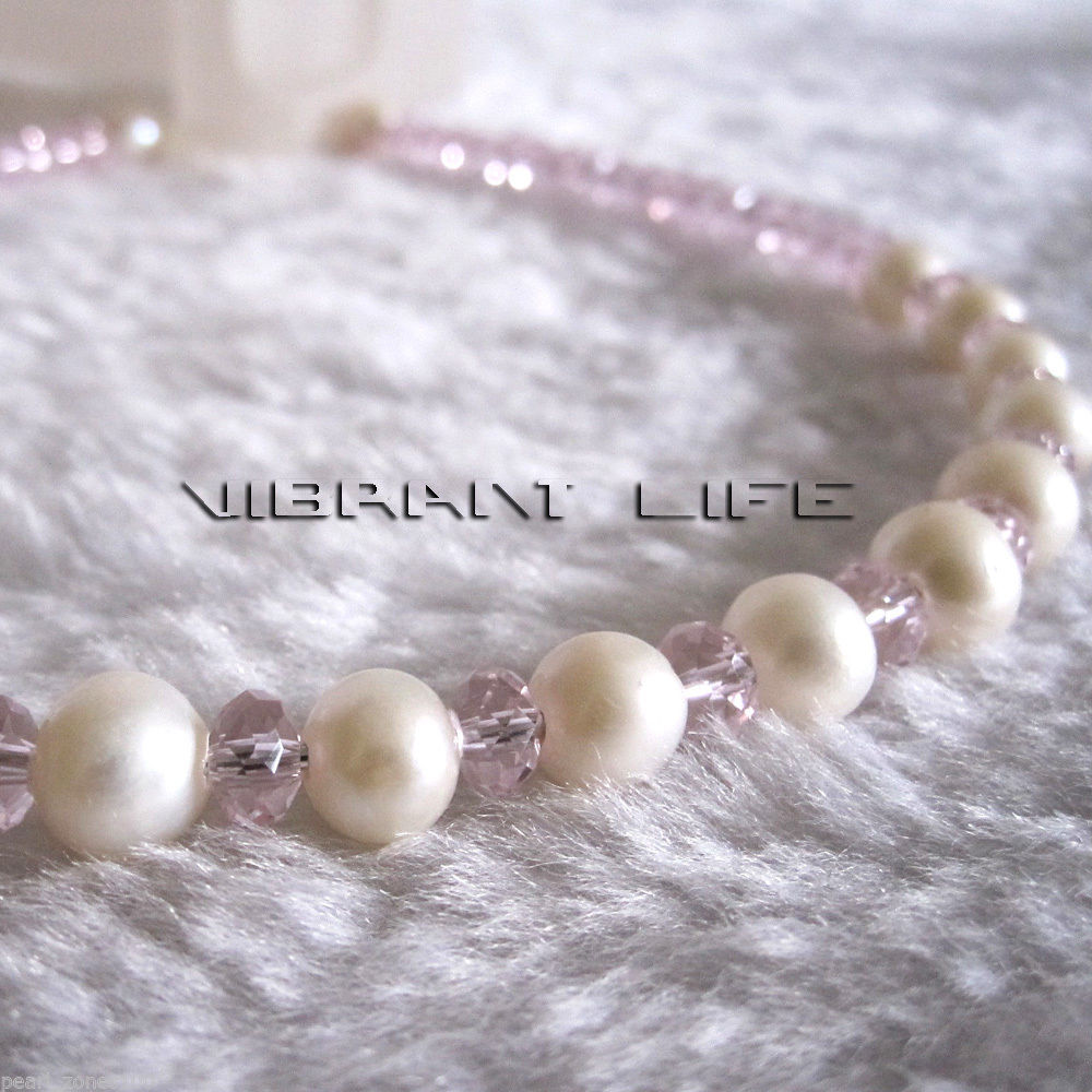 8.0-9.0mm White AA Freshwater Pearl 6mm Pink Crystal Headband AC