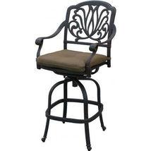 Patio bar stools set of 6 Elisabeth cast aluminum outdoor barstool Bronze image 4