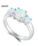 Ayowei Rings for Women Best White Fire Opal Silver Stamped Rings Opal Fa... - £9.44 GBP