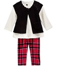 First Impressions Baby Girls' 3-Piece Shrug,Tunic&Plaid Leggings,Size 3-6M,$52.5 - $19.79
