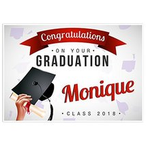 Hand Holding Hat Class of 2018 Graduation Banner Personalized Backdrop - £32.75 GBP
