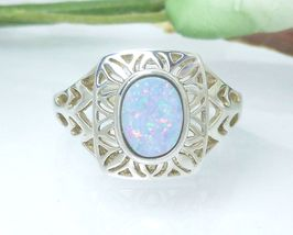 Sterling Opal Doublet Filigree Ring Size 7 - $43.00