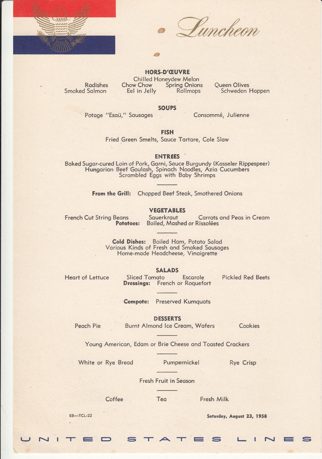 1958 aug. 24 S. S. United States Luncheon Menu Cruise Ship, US Lines