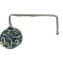 Blue Green Enamel Silver Purse Holder Hanger Hook K155 - $6.64