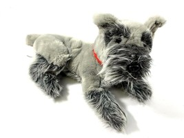 FAO Schwarz Large Schnauzer Plush Stuffed Animal Dog With Red Collar - $25.38