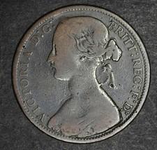 Random 1800s Great Britain UK Queen Victoria One Penny Rare British Coin - $3.96