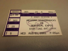 Montreal Expos vs Arizona Diamondbacks August 1,2001 Baseball Game Ticke... - $3.12