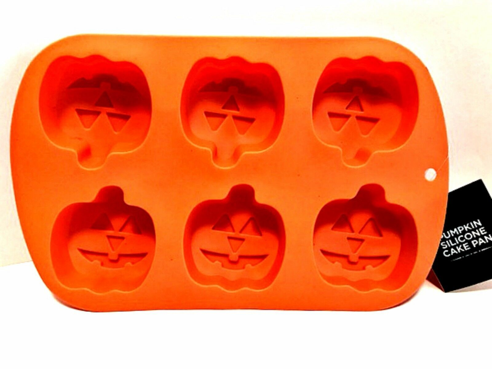 Primary image for Pumpkin Jack-O-Lantern Silicone Muffin Cake Pan Six Halloween Cupcakes