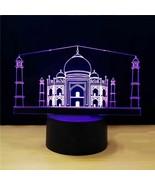 Novelty Taj Mahal Building Modelling 3d Night Light Change Usb Church Ta... - $33.99