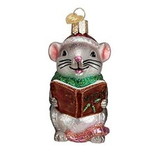 Old World Christmas CAROLING MOUSE Glass Blown Ornament, Grey - $14.84