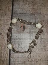 Amco Gold Filled faux Pearl Link Bracelet 1/20 14K GF - $39.01