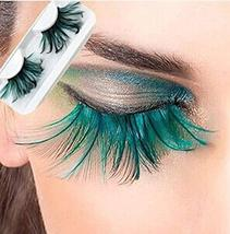 Popular Stage Artistic Exaggeration Green Feather False Eyelashes 5 Pairs