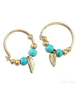 14K Gold Plated Turquoise Leaf Hoop Dangle Earrings Warranty High Qualit... - $14.00