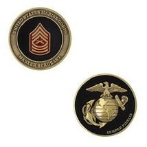 "USMC MARINE CORPS MASTER  SERGEANT BLACK GOLD SILVER EGA 1.75""  CHALLENG... - $17.09"