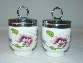 Vintage Royal Worcester Fine Porcelain Floral Egg Coddler Jelly Jam Jars - $27.71