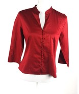 Apostrophe Womens Size 10 Petite EUC Button Down Burgundy 3/4 Sleeve 100... - $12.19