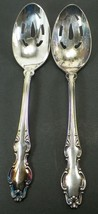 PAIR OF REED & BARTON ENGLISH CROWN PIERCED SERVING SPOONS - $13.99