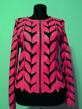 Round Neck Pink Leather Leaf Jacket Womens All Colors Sizes Zipper Short... - $115.00