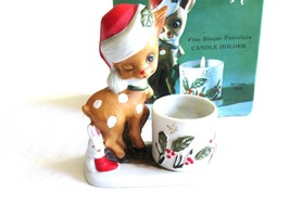 Vtg 1978 Jasco Little Reindeer Candle Toothpick Holder Hand Painted Bisq... - $9.99