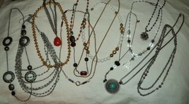 Lot of 13 Vintage to Modern Long Gold Tone Silver Tone Necklaces - $19.52