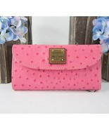Dooney and Bourke Hot Pink Ostrich Leather Trifold Wallet NWT - $118.31