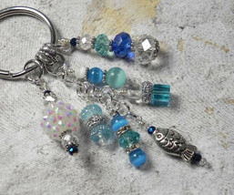 Fish Beach Crystal Glass Beaded Handmade Keychain Split Key Ring Blue Si... - $16.58