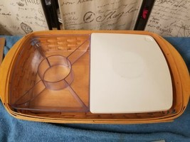 Longaberger 2002 Hostess Serve It Up Serving Tray Divided Trays, One Lid, Euc - $65.55